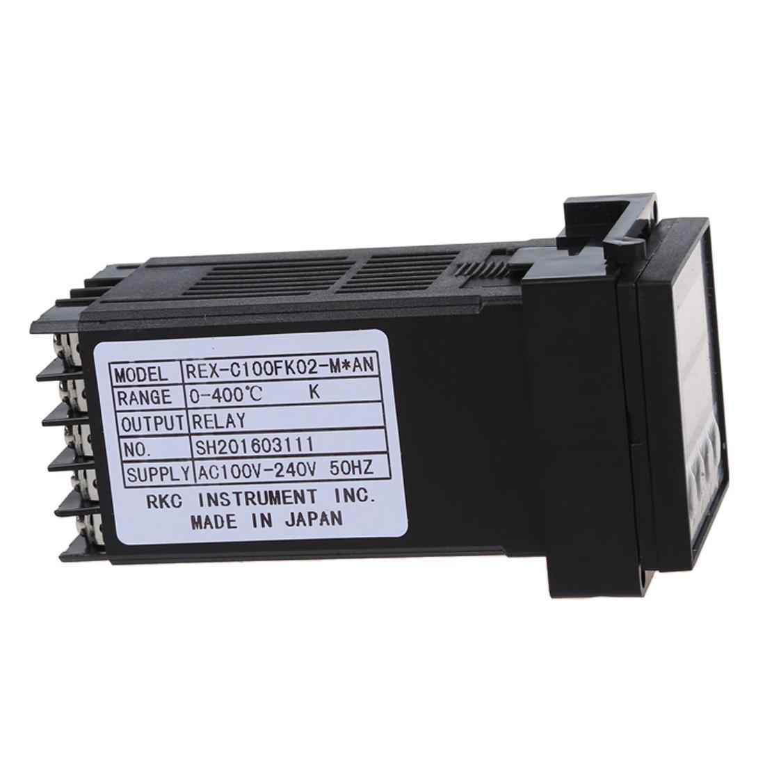 R Digital PID 0 to 400Celsius Control de temperatura Dual LED REX-C100 K Sonda Termopar Controlador de temperatura SODIAL