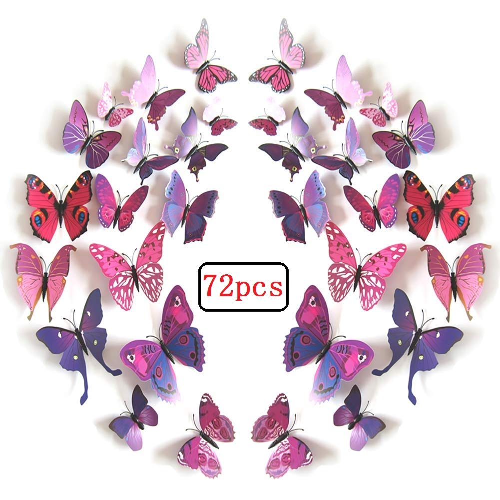 LiveGallery 72 PCS Purple Removable 3D DIY Beautiful Butterfly Wall Decals Colorful Butterflies Art Decor Wall Stickers Murals for Kids Baby Boy Girls Bedroom Classroom Offices TV Background