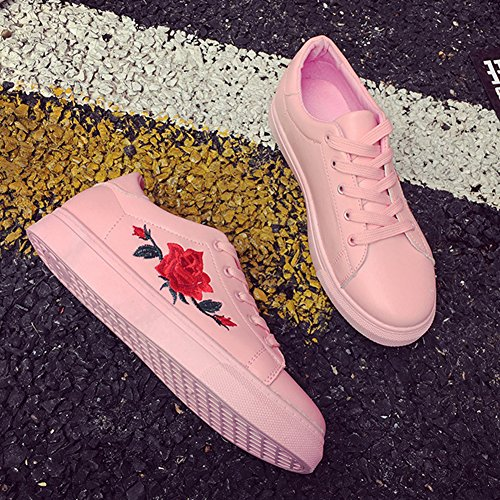 Casual Tennis Pattern Pink Hibote Trendy White Sneakers Black Flat Leather Pink Up Women's With Lace Sneakers Black Shoes Embroidery White Shoes Women's xqZAt1Zw