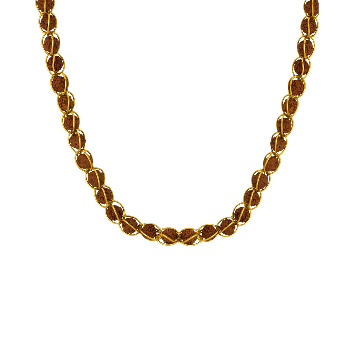 e3f9ab5def703 Dare by Voylla Rudraksha Studded Chain in Gold Toned: Amazon.in ...