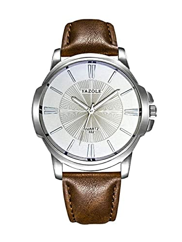 94a0a6486a Amazon.com: YAZOLE 332 Men Watches Luxury Famous Male Clock Quartz Watch  Brown Leather Wrist Watch: Watches