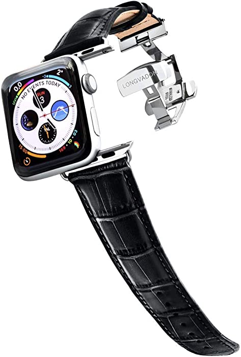 Longvadon Men's Caiman Series Watch Band - Compatible with Apple Watch 42MM (Series 1-3) & 44MM (Series 4-5) - Genuine Top Grain Leather - Midnight Black with Silver Details - M Size