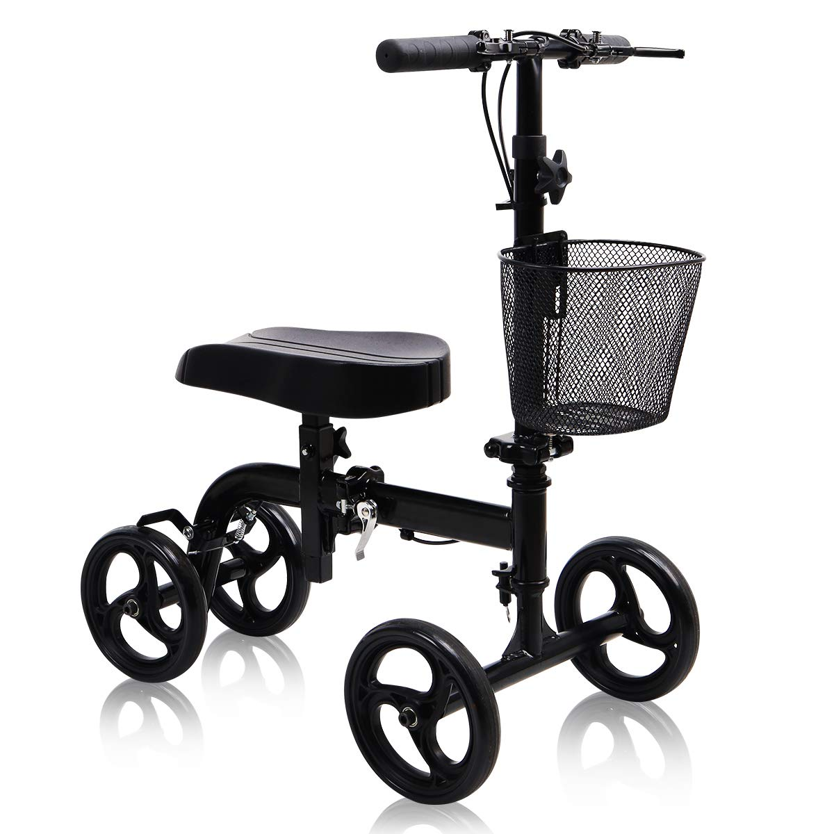 Give Me Knee Scooter - Ultra Compact & Portable Knee Walker with Basket Crutches Alternative in Black by Give Me