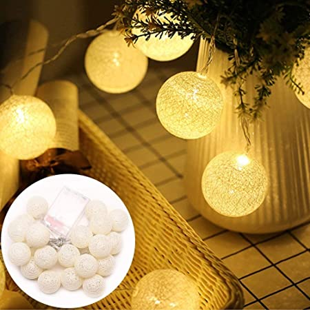 20 LED Cotton Ball String Light for Christmas Wedding Party Fairy Lights