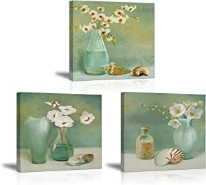 """Flower Wall Decor for Bedroom, SZ Still Life Canvas Art Prints of Green Flowers in Vase Bottles, Elegant Floral Pictures (Waterproof Artwork, 1"""" Thick, Bracket Mounted Ready to Hang)"""