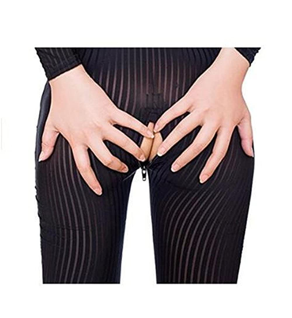 13ca8937af5 Amazon.com  Jiuhexu New Open Crotch Striped Sheer Body Stocking Bodysuit  Sexy Lingerie for Women Smooth Fiber Double Zipper Long Sleeves (Black)   Clothing