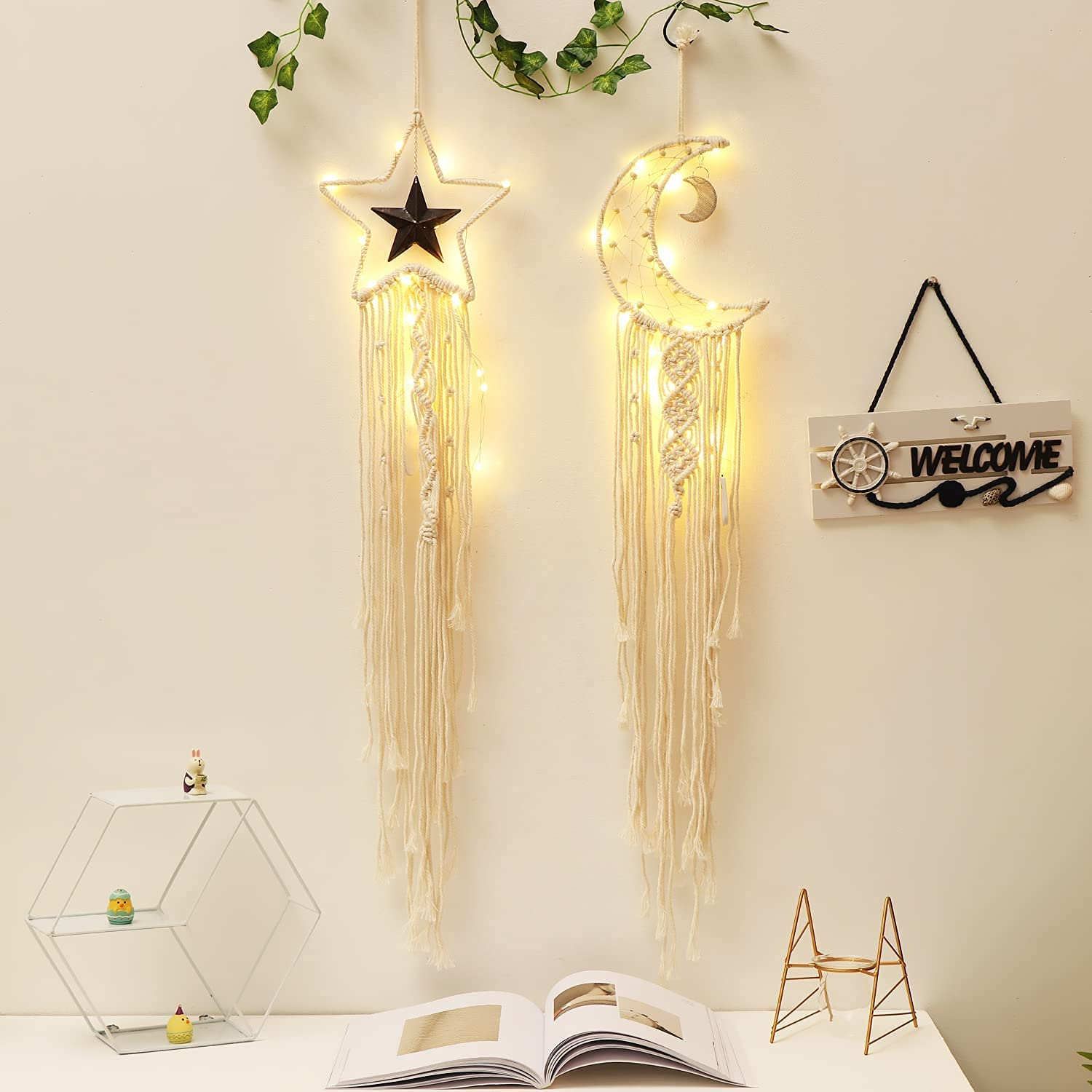 APHISM 2pcs Star Moon Dreamcatcher,Boho Baby Moom Room Decor,Lighted Dream Catcher,Christmas Decorations,Home Decor Gifts for Mom, for Women Nursery Decor,Interesting Finds Wall Decor