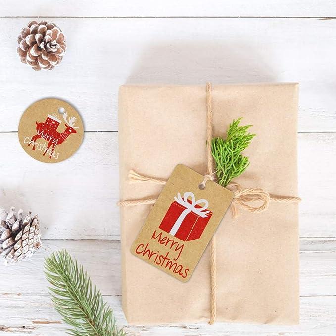 150 Stück Weihnachten Kraft Geschenk Anhänger Papieranhänger Tags Labels