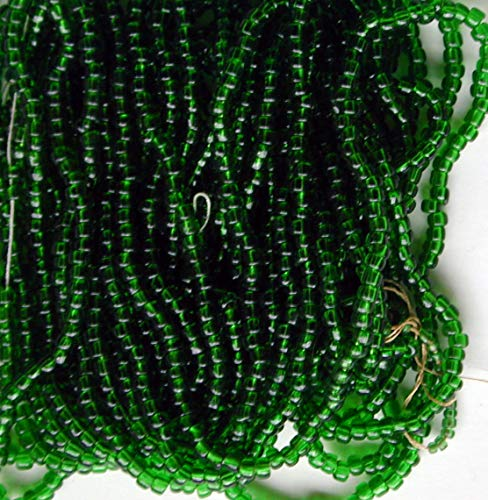 Vintage Emerald Green Seed Beads Round Glass Beads 64g XL Ha
