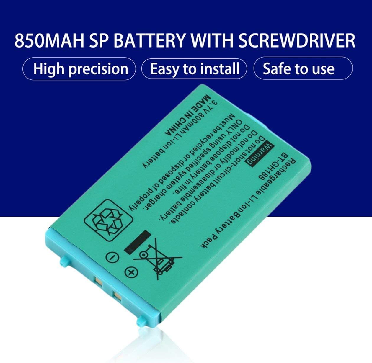 BIYI 3.7V 850 mAh Akku f/ür f/ür Nintend f/ür Game Boy Advance SP Systeme mit Schraubendreher Lithium Batterie Gr/ün