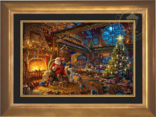 Thomas Kinkade - Santa's Workshop 18'' x 27'' Standard Number (S/N) Limited Edition Canvas (Aurora Gold Frame) by Thomas Kinkade