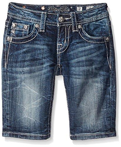 Miss Me Girls' Big Beaded Bermuda Denim Shorts, Dark, 8