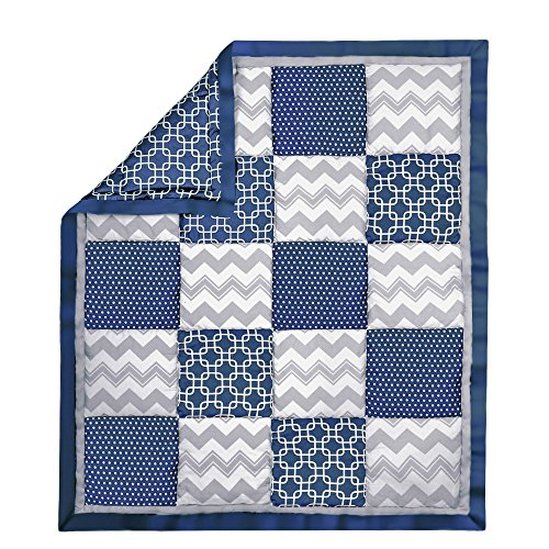 Navy Blue and Grey Geometric and Zig Zag Patchwork Crib Quilt