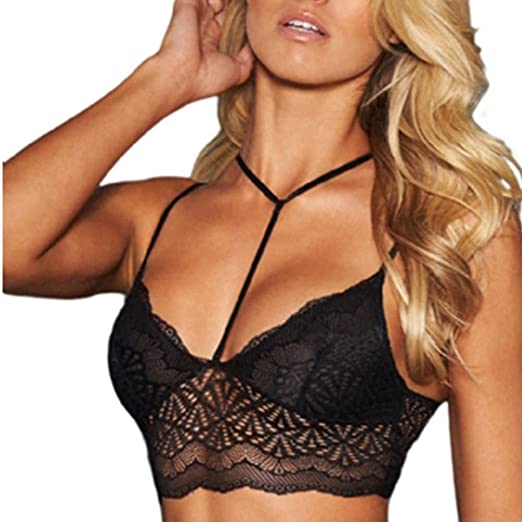 2014d022e7926 Bornbayb Women s Seamless Non-Padded Bralette Wireless Strappy Lace Bra Top  Racerback Camisole