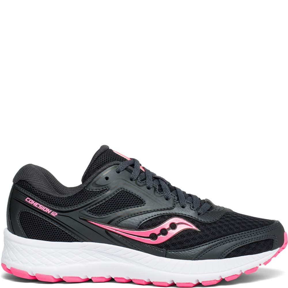 Saucony Women's VERSAFOAM Cohesion 12 Road Running Shoe, Black/Pink, 9.5 M US by Saucony