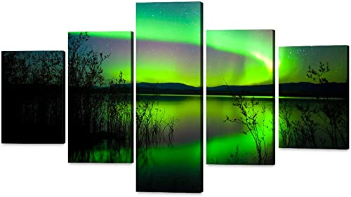 Yatsen Bridge 5 Panels Wall Art Decor Posters Northern Lights Night Sky Photo Framed Artwork Painting Ready to Hang-40x70inch