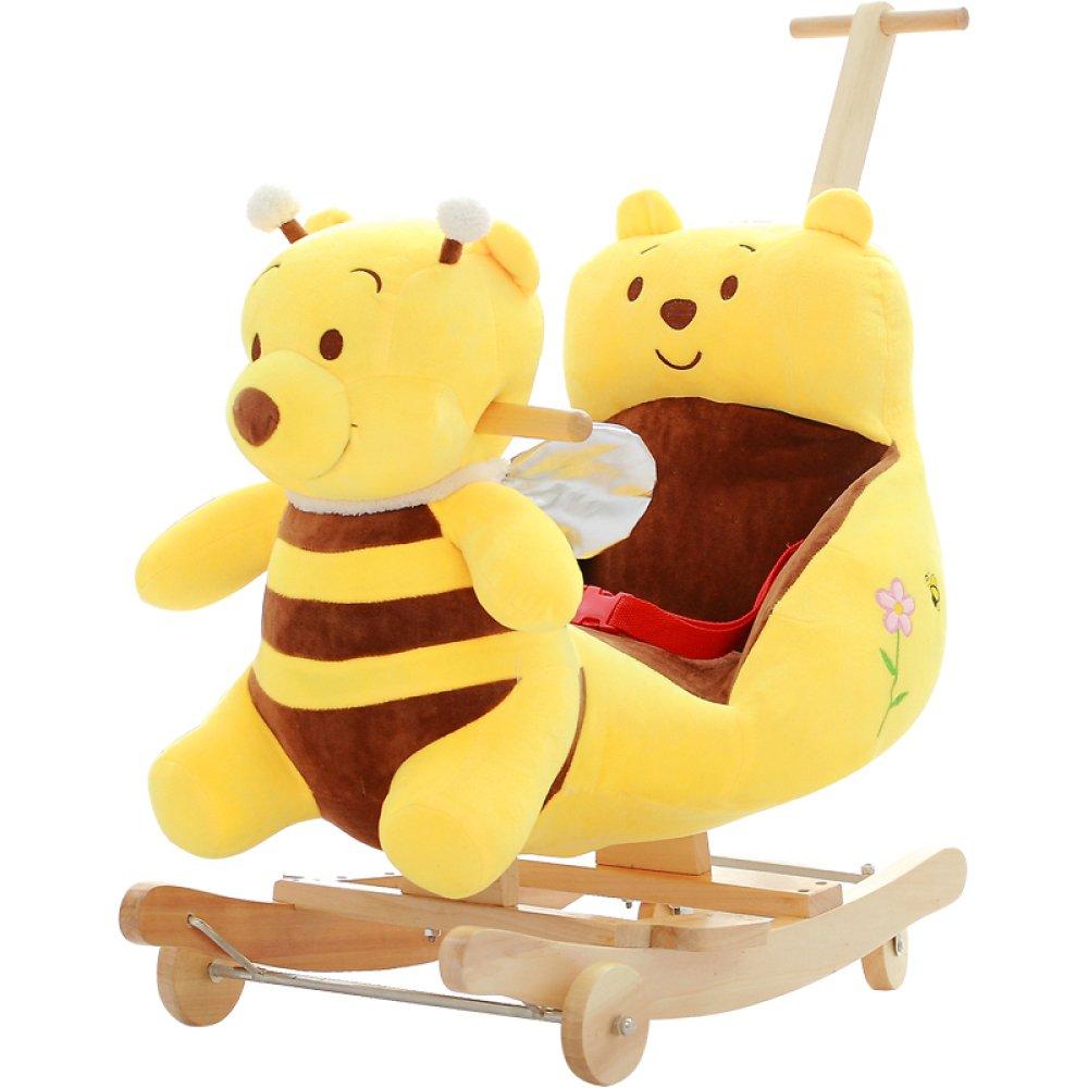 zcrfy Rocking Horse木製ベビー2 in 1 Plush Rocking Horse with Wheels Toy for1 – 4 Years子Rocking Horse /ベビーRocker Bule /動物Rocker /保育園/ Seat誕生日ギフト   B07DBB477G