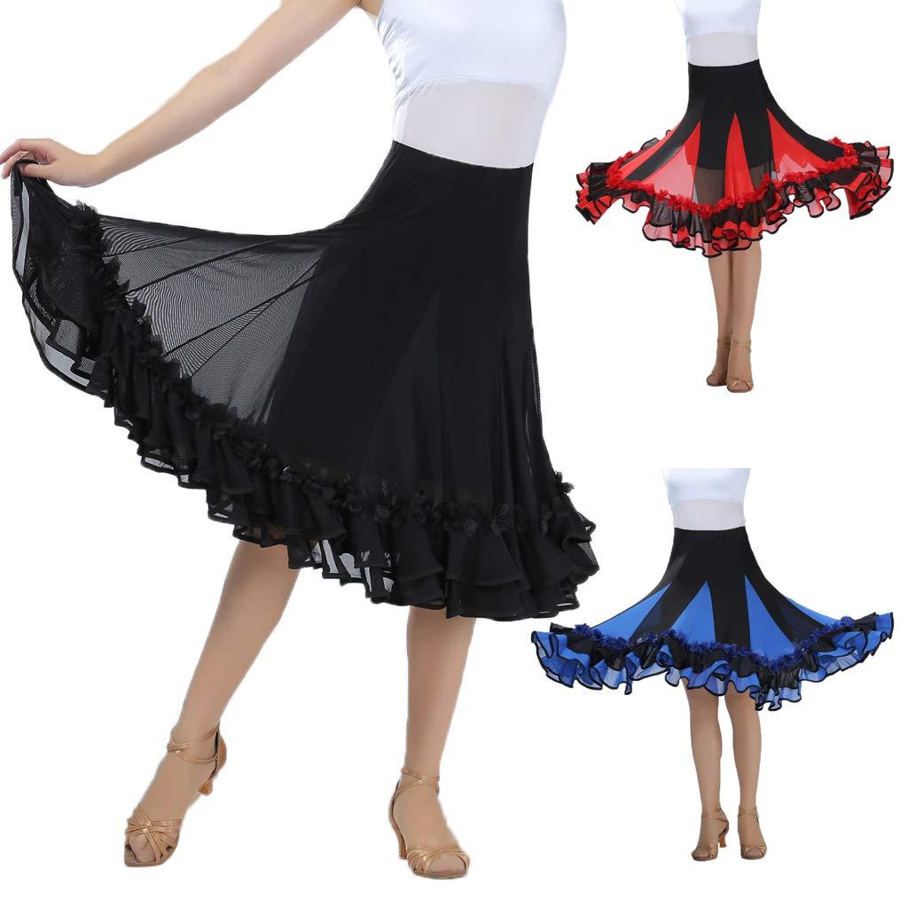 IPOTCH Jupe de Danse Femme en Maille Paillettes Broderies Florales Swing Plein Cercle Danses Modernes