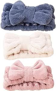 Pack of 3 Hair Bands Elastic Coral Plush Make up Face Wash Shower Headband