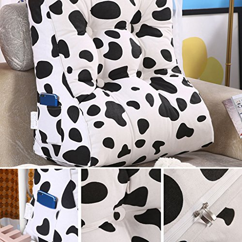 MS Pillow Triangle Bed Backrest Washable Sofa Cushion Soft Cushions On The Bed Office Lumbar Pillow Neck Guard Protection Waist Black White Multiple by MS (Image #3)
