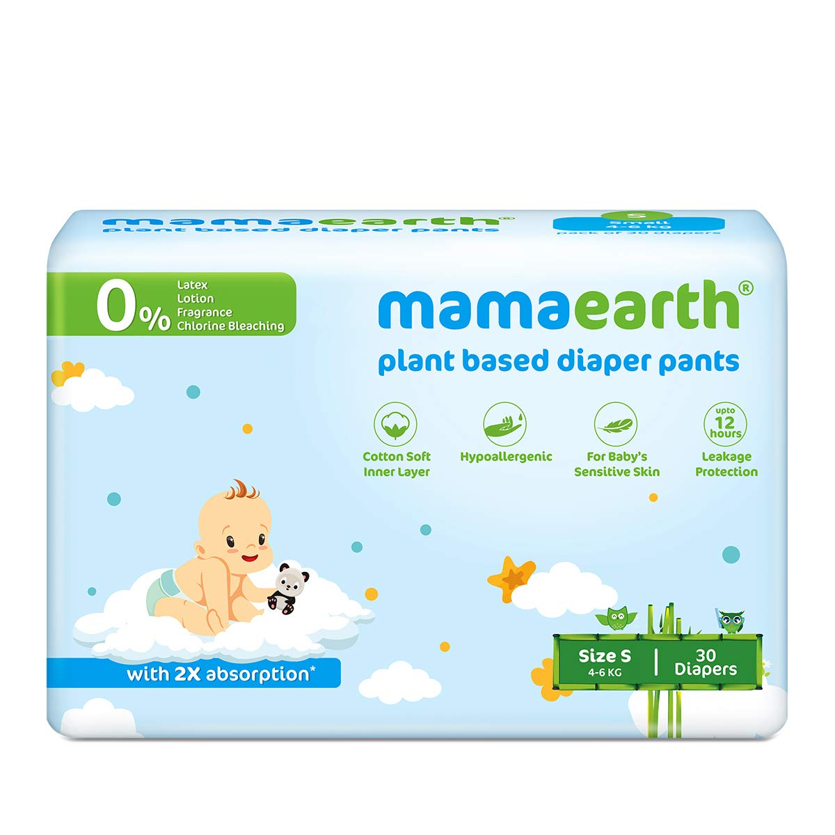 [Apply coupon] Mamaearth Plant-Based Diaper Pants for Babies – 4-6 kg (Size S - 30 Diapers)
