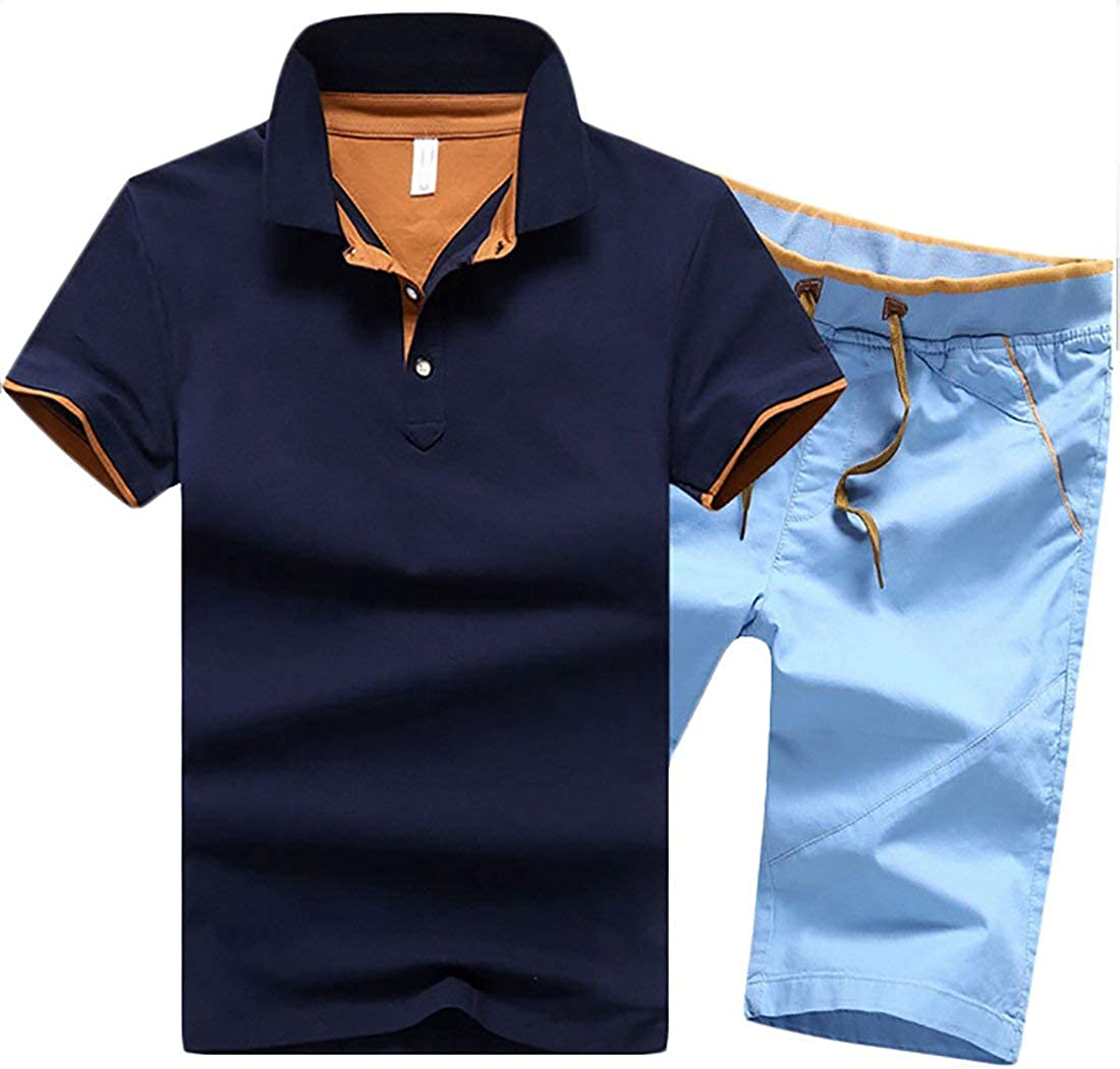 Fashion Casual Shorts Set 13 M Alion Mens Lapel Cotton T-shirt