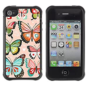 WAWU Funda Carcasa Bumper con Absorci??e Impactos y Anti-Ara??s Espalda Slim Rugged Armor -- butterfly pink hearts love butterflies teal -- Apple Iphone 4 / 4S