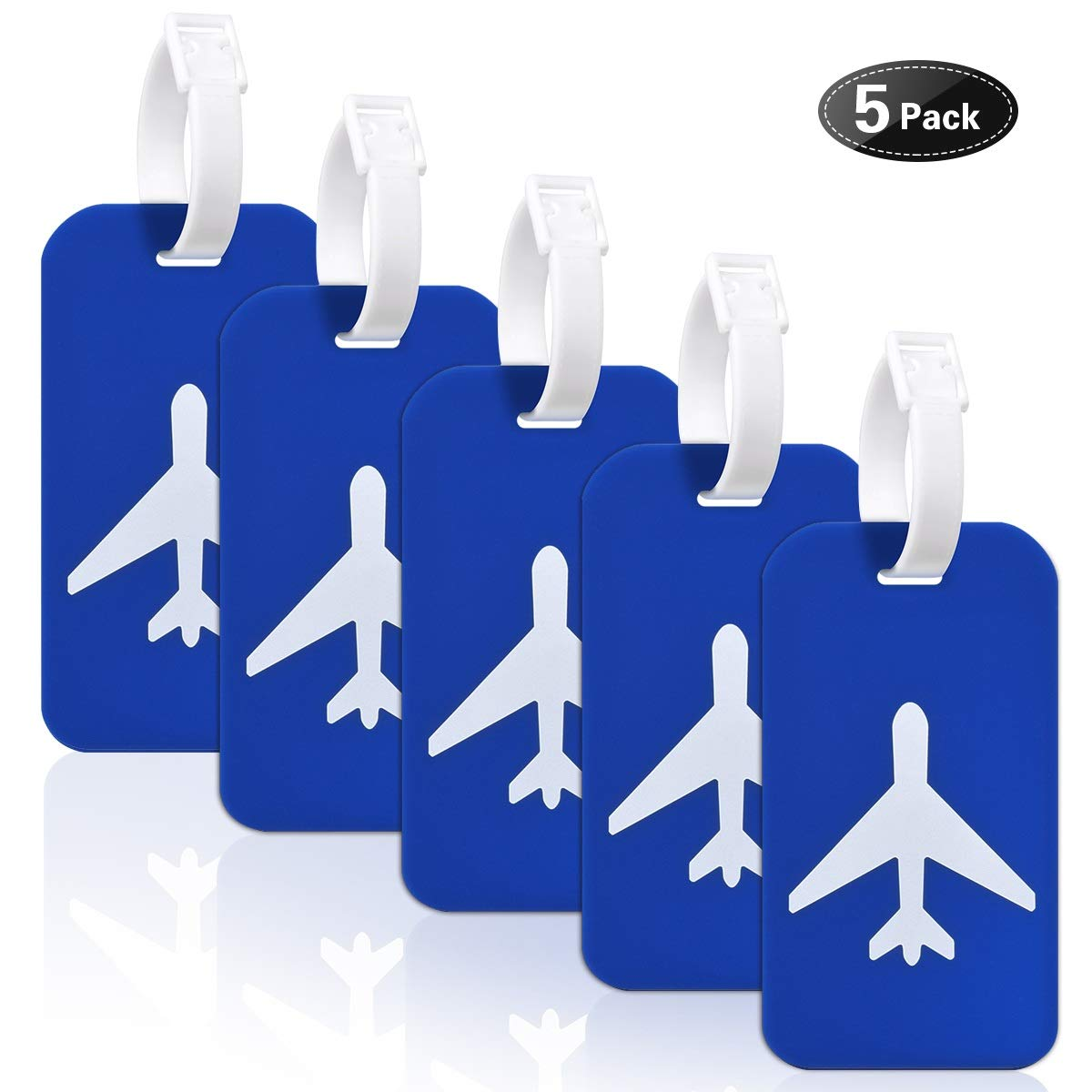 Large Silicon Luggage Tags with Name ID Cards for Luggage Baggage Travel Identifier By Ovener (Blue 5Pack)