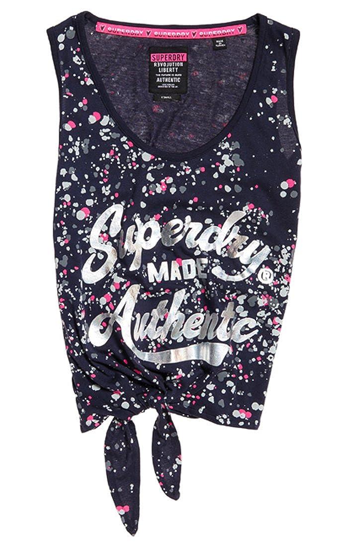 Superdry Splatter AOP Knot, Camiseta de Tirantes para Mujer