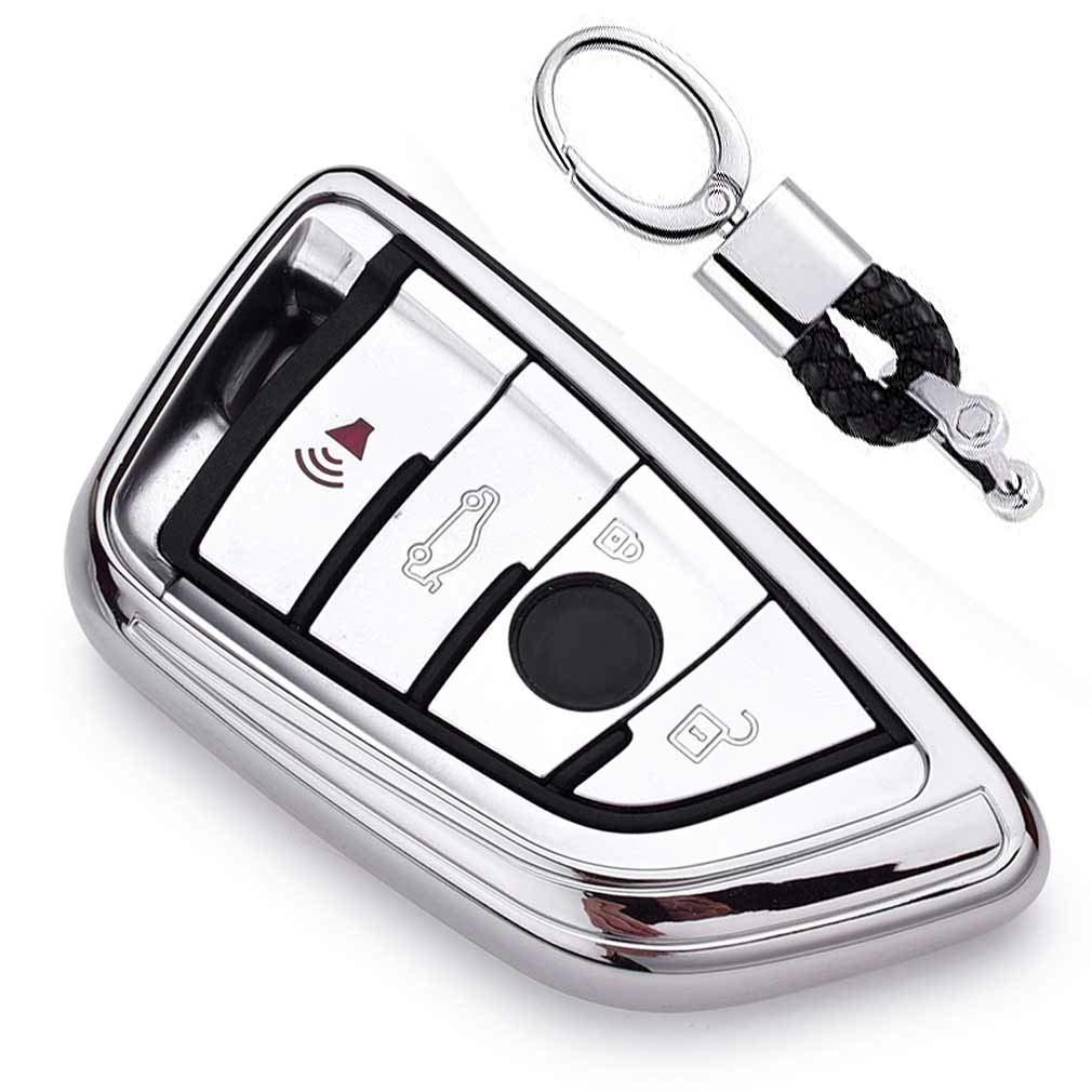 Plateado Funda de TPU Suave para Llave + Llavero para Coche BMW 7 Series 5 Series X1 X3 X4 X5 X6 M5 M6 Remote Smart 3 4 Buttons