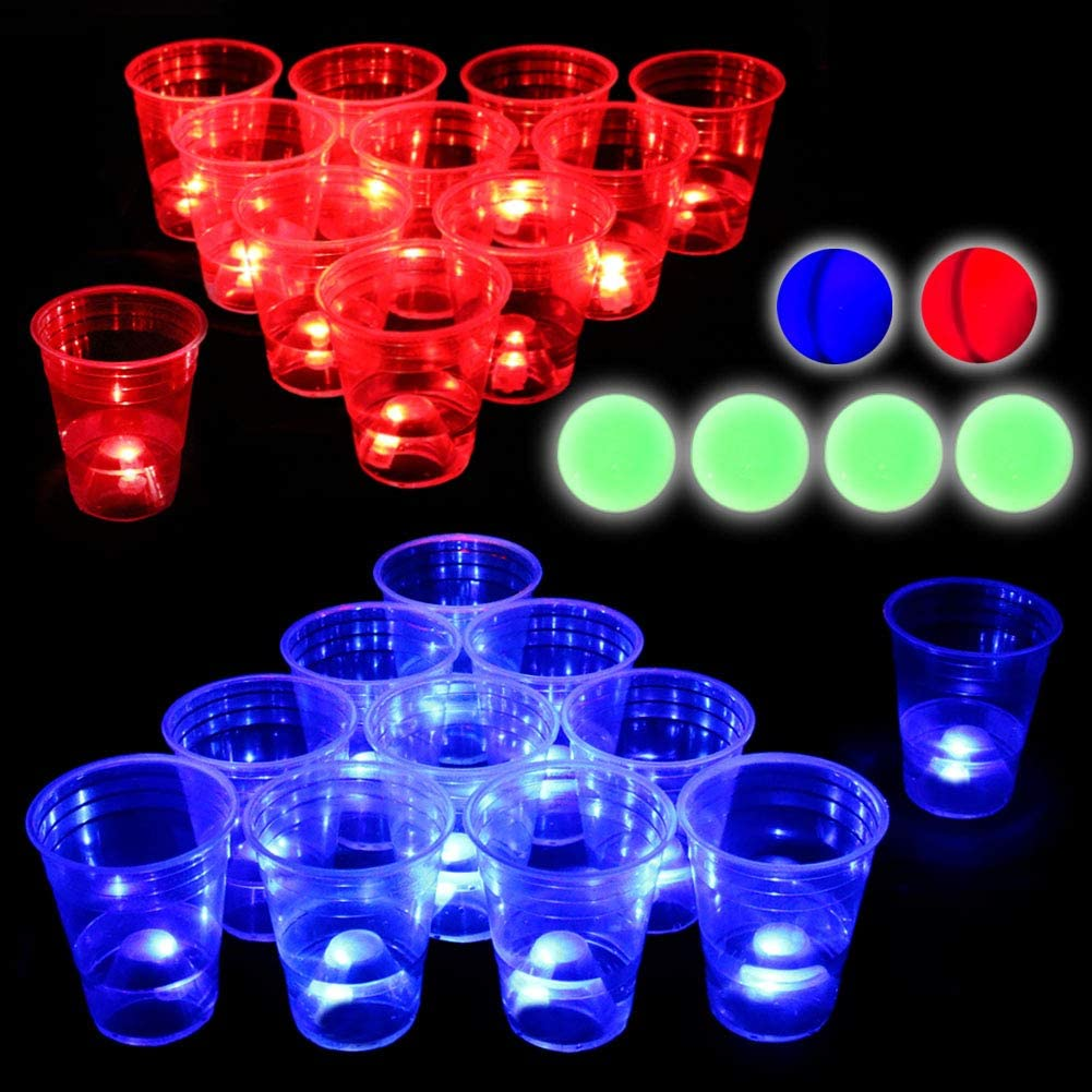 Six Senses Media 22 Sets Mixed Up Glow-in-The-Dark Beverage Pong Game Set for Indoor Outdoor Nighttime Competitive Fun,Light up Beverage Pong,led Beverage Pong,Glow Beverage Pong