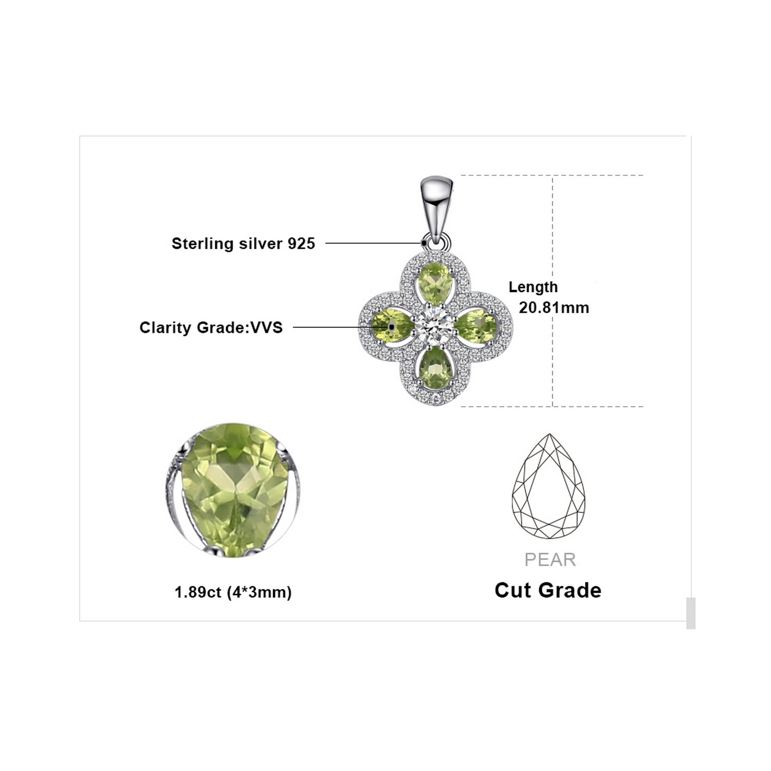CS-DB Pendants 2.3 ct Stone Peridot Silver Necklaces