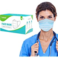 Face Mask 50pcs 3Layer Disposable Elastic String Mask Breathing Soft for Daily Use