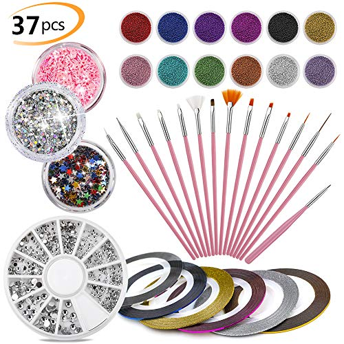 37Pack Nail Art Kit - 15 PCS Nail Brushes & 12 Pot Mini Caviar Beads & 6 Striping Tape & 1 Rhinestones & 3 Pots Glitter, Professional Nail Artist Collection by Phogary