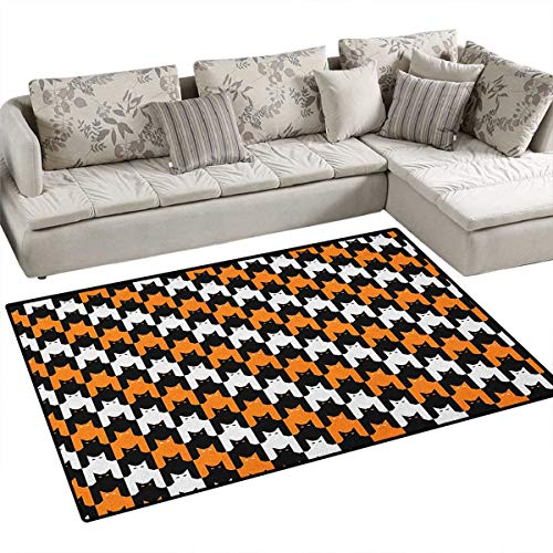 Halloween,Carpet,Digital Style Catstooth Pattern Pixel Spooky Harvest Fashion Illustration,Area Silky Smooth Rugs,Orange Black White Size:48