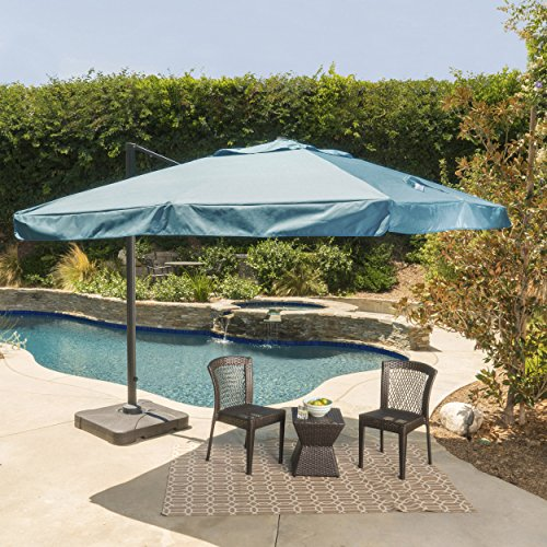 Meridiana Patio Shade 9.8 Foot Outdoor Canopy Umbrella Cantilever Design Resin Base Rigid Aluminum and Steel Frame Durable Polyester Canopy in
