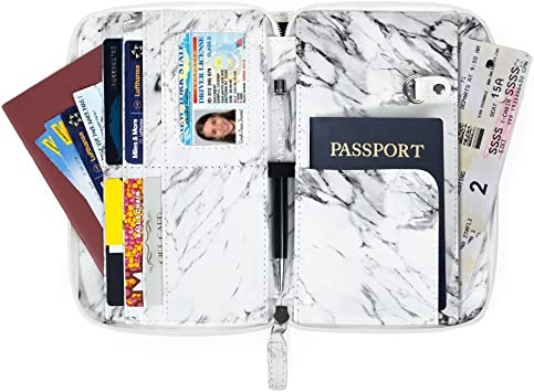 Black Ink Marble Leather Passport Wallet for Passport Holder for Safe Trip durable Easy to Carry