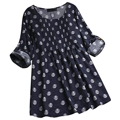 c01c91c7958 Mounter Women Blouse Tops, Ladies Long Sleeve Polka Dot Loose Blouse  Pullover Button Shirt Tunic Tops: Amazon.co.uk: Clothing