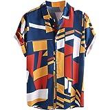 Emlyn Adrian Mens Summer Hawaiian Shirts Single Breasted Light Beach Shirts Short Sleeve
