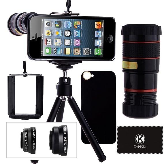 pretty nice d3434 b1877 CamKix Camera Lens Kit Compatible with iPhone SE / 5S / 5 Including 8X  Telephoto Lens/Fisheye, Macro, Wide Angle Lens/Tripod/Phone Holder/Hard ...