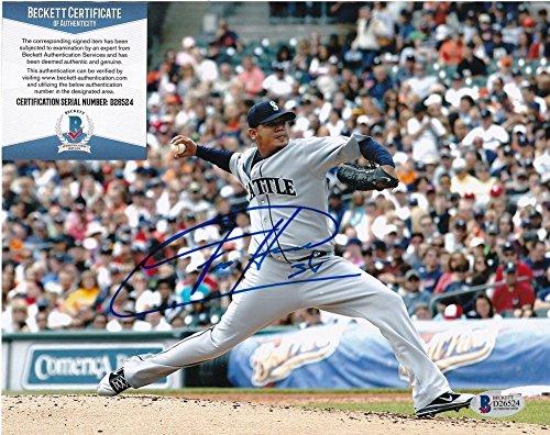- Felix Hernandez Seattle Mariners Beckett Certifiedated Action Signed Autographed 8x10