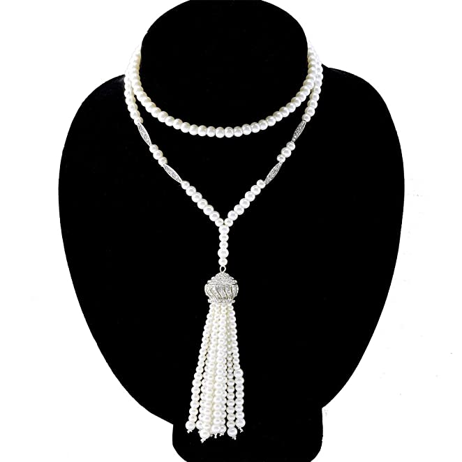 1920s Jewelry Styles History 1920s Flapper Great Gatsby Inspired CROWN TASSEL Necklace of Imitation Pearls $15.89 AT vintagedancer.com