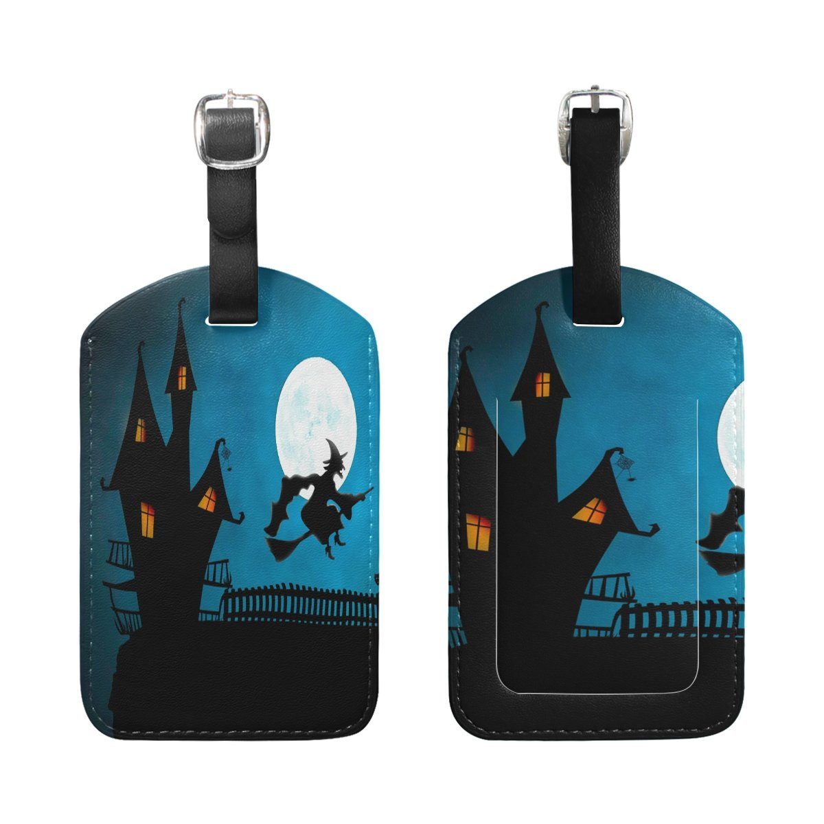 1Pcs Saobao Travel Luggage Tag Vampire Witch Broom PU Leather Baggage Suitcase Travel ID Bag Tag