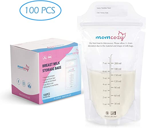 bolsas de contenedor de almacenamiento a prueba de fugas en el congelador de lactancia Bolsa de almacenamiento de leche materna de 200 piezas de 30 ml bolsas de sellado de doble cremallera para