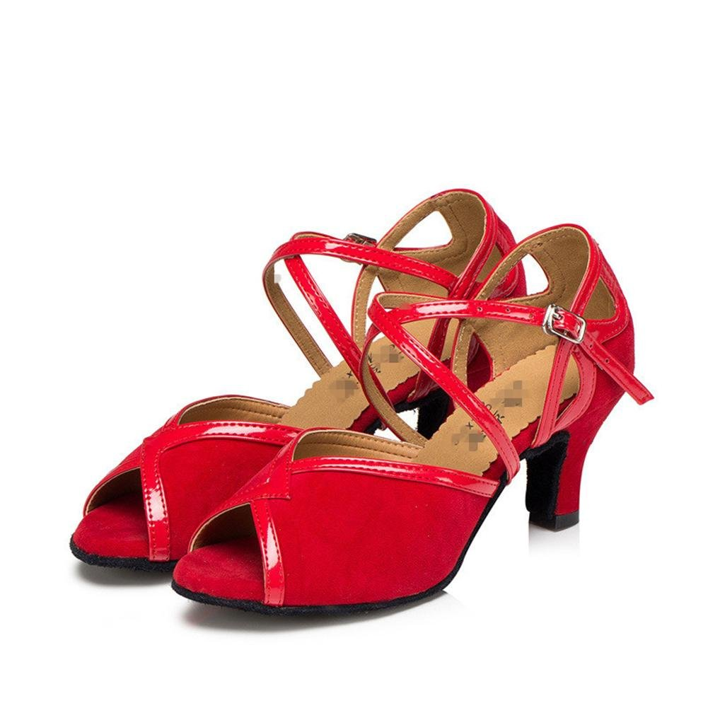 Byjia Frauen Sandalen Tango Salsa Latin Tango Sandalen Ballsaal High Heel Leder Wildleder Soft Soles Gürtelschnalle Tanz Schuhe Rot e03c44