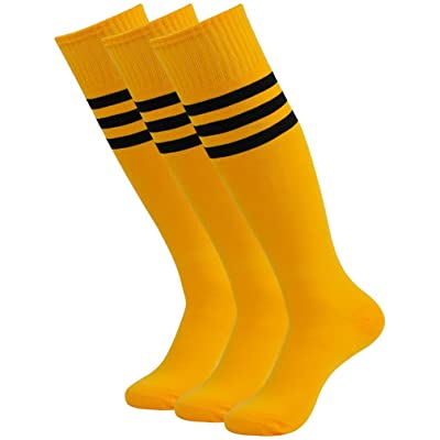 Fasoar Unisex Knee High Long Stripe Football Sports Tube Socks(3-12 Packs)