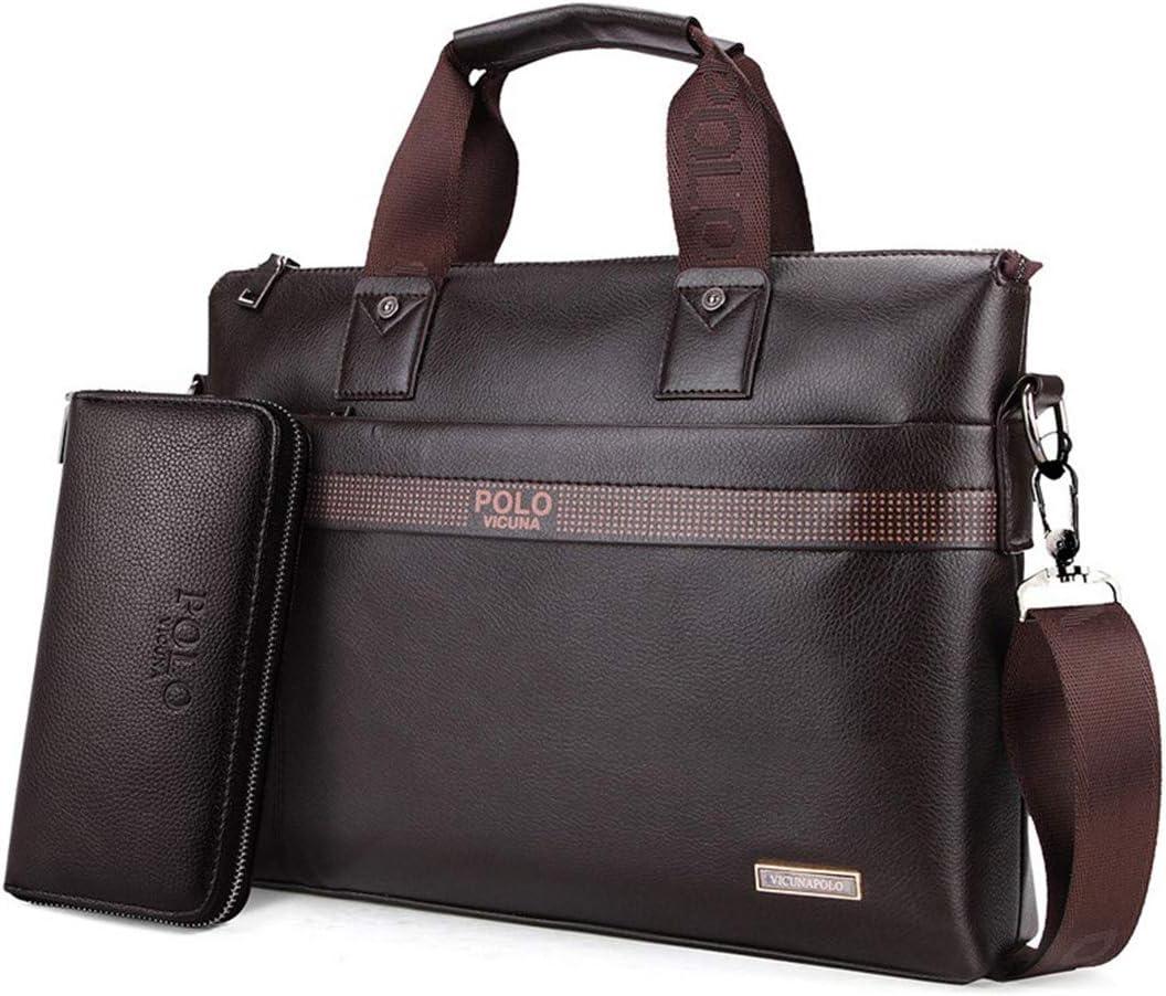 Fashion Simple Business Men Briefcase Bag Leather Laptop Bag Casual Man Bag Shoulder Bags Set small brown