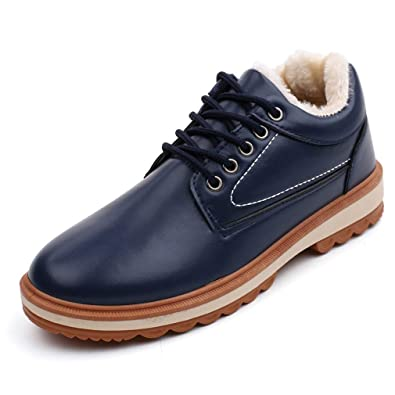 aacbaa4a81 Juqilu Men's PU Leather Sneaker Winter Cotton Shoes Sport Lace Up Snow Boots  Low-Top