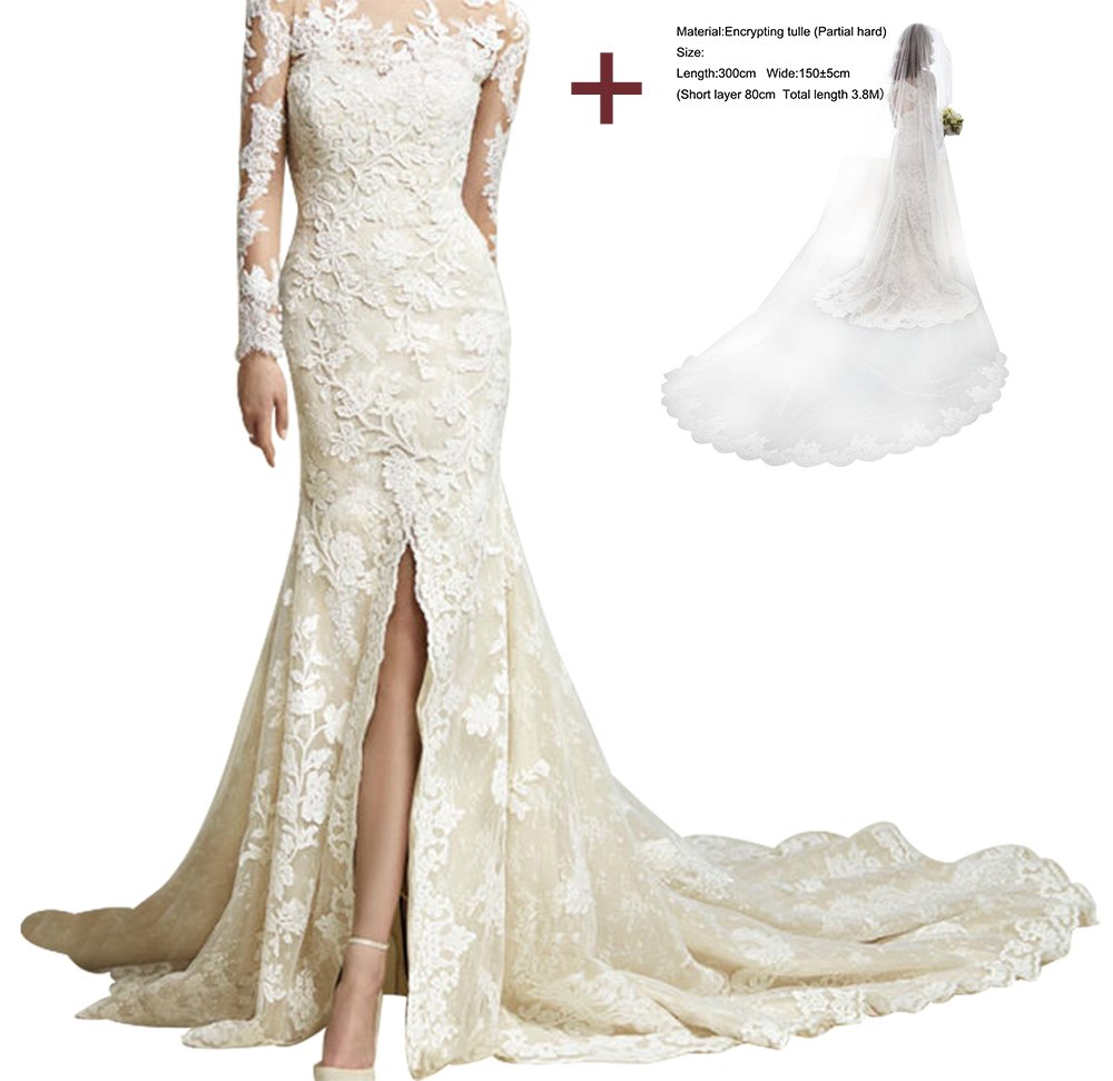 LiCheng Bridal Long Sleeve Lace Mermaid Wedding Bridal Dresses With Veil Cathedral Length Champagne Veil2 US4