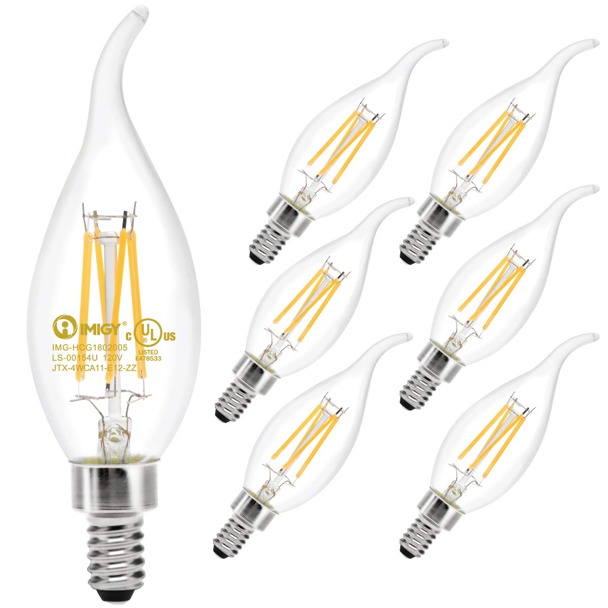 6-Pack Flame Tip LED Filament Bulb 40W Equivalent with 400LM Brightness, IMIGY E12 Base 2700K Candelabra Warm Light B11 Bulb, Flamp Tip Filament Light Non-Dimmable